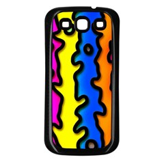 Digitally Created Abstract Squiggle Stripes Samsung Galaxy S3 Back Case (black)