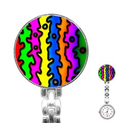 Digitally Created Abstract Squiggle Stripes Stainless Steel Nurses Watch