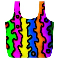 Digitally Created Abstract Squiggle Stripes Full Print Recycle Bags (L)