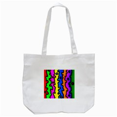 Digitally Created Abstract Squiggle Stripes Tote Bag (White)