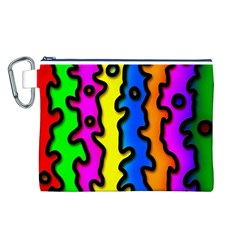 Digitally Created Abstract Squiggle Stripes Canvas Cosmetic Bag (l)