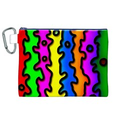 Digitally Created Abstract Squiggle Stripes Canvas Cosmetic Bag (xl)