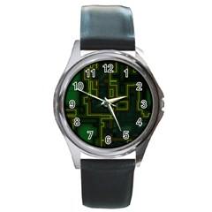 A Completely Seamless Background Design Circuit Board Round Metal Watch