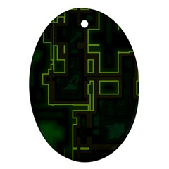 A Completely Seamless Background Design Circuit Board Ornament (Oval)
