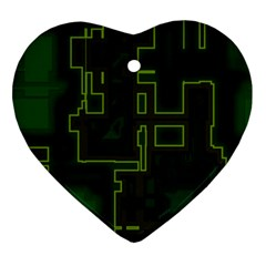 A Completely Seamless Background Design Circuit Board Ornament (heart)
