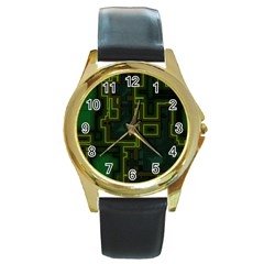 A Completely Seamless Background Design Circuit Board Round Gold Metal Watch