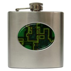 A Completely Seamless Background Design Circuit Board Hip Flask (6 Oz)