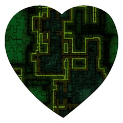A Completely Seamless Background Design Circuit Board Jigsaw Puzzle (heart)