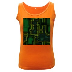 A Completely Seamless Background Design Circuit Board Women s Dark Tank Top