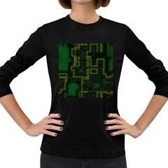A Completely Seamless Background Design Circuit Board Women s Long Sleeve Dark T-Shirts