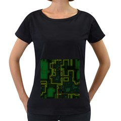 A Completely Seamless Background Design Circuit Board Women s Loose-Fit T-Shirt (Black)