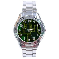 A Completely Seamless Background Design Circuit Board Stainless Steel Analogue Watch