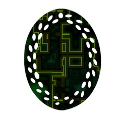 A Completely Seamless Background Design Circuit Board Oval Filigree Ornament (Two Sides)