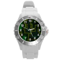 A Completely Seamless Background Design Circuit Board Round Plastic Sport Watch (L)