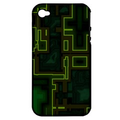 A Completely Seamless Background Design Circuit Board Apple iPhone 4/4S Hardshell Case (PC+Silicone)
