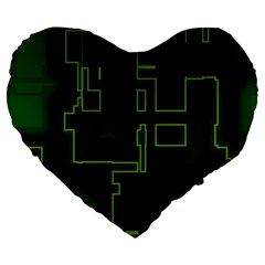 A Completely Seamless Background Design Circuit Board Large 19  Premium Heart Shape Cushions