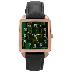 A Completely Seamless Background Design Circuit Board Rose Gold Leather Watch