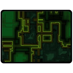 A Completely Seamless Background Design Circuit Board Double Sided Fleece Blanket (Large)