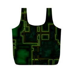 A Completely Seamless Background Design Circuit Board Full Print Recycle Bags (M)