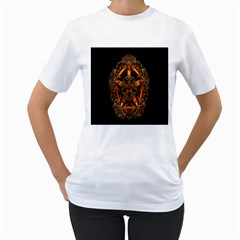 3d Fractal Jewel Gold Images Women s T-Shirt (White) (Two Sided)
