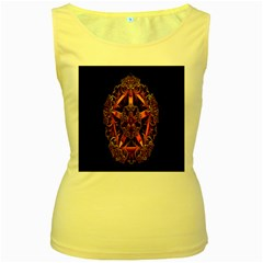 3d Fractal Jewel Gold Images Women s Yellow Tank Top