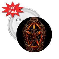 3d Fractal Jewel Gold Images 2 25  Buttons (100 Pack)
