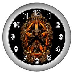 3d Fractal Jewel Gold Images Wall Clocks (silver)