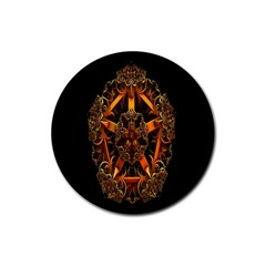 3d Fractal Jewel Gold Images Rubber Coaster (Round)