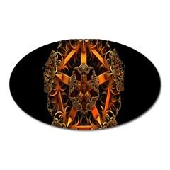 3d Fractal Jewel Gold Images Oval Magnet