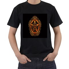 3d Fractal Jewel Gold Images Men s T-Shirt (Black) (Two Sided)