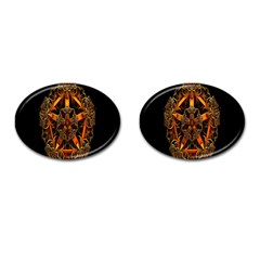 3d Fractal Jewel Gold Images Cufflinks (Oval)