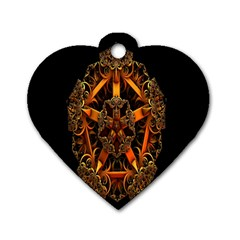 3d Fractal Jewel Gold Images Dog Tag Heart (Two Sides)