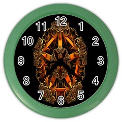 3d Fractal Jewel Gold Images Color Wall Clocks