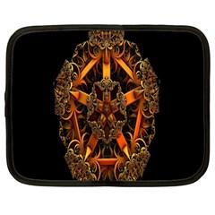 3d Fractal Jewel Gold Images Netbook Case (large)