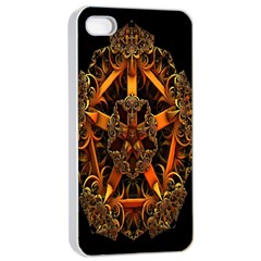 3d Fractal Jewel Gold Images Apple iPhone 4/4s Seamless Case (White)