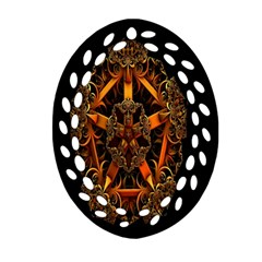 3d Fractal Jewel Gold Images Ornament (oval Filigree)