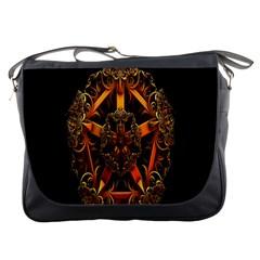 3d Fractal Jewel Gold Images Messenger Bags