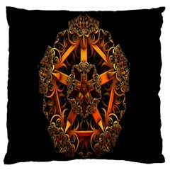3d Fractal Jewel Gold Images Large Cushion Case (Two Sides)