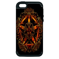3d Fractal Jewel Gold Images Apple iPhone 5 Hardshell Case (PC+Silicone)