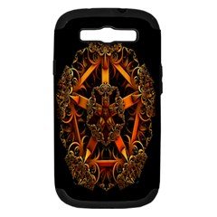 3d Fractal Jewel Gold Images Samsung Galaxy S III Hardshell Case (PC+Silicone)