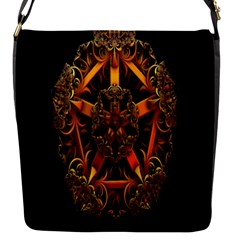 3d Fractal Jewel Gold Images Flap Messenger Bag (S)