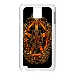 3d Fractal Jewel Gold Images Samsung Galaxy Note 3 N9005 Case (White)