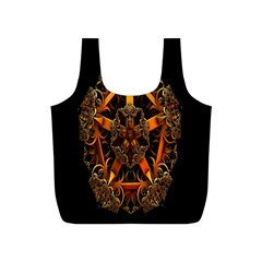 3d Fractal Jewel Gold Images Full Print Recycle Bags (S)
