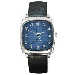 Zoom Digital Background Square Metal Watch
