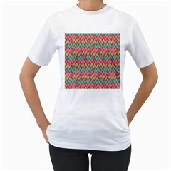 Abstract Seamless Abstract Background Pattern Women s T Shirt (white) (two Sided)