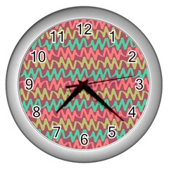 Abstract Seamless Abstract Background Pattern Wall Clocks (silver)