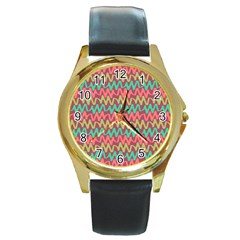 Abstract Seamless Abstract Background Pattern Round Gold Metal Watch
