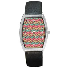 Abstract Seamless Abstract Background Pattern Barrel Style Metal Watch
