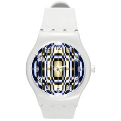 Colorful Seamless Pattern Vibrant Pattern Round Plastic Sport Watch (M)