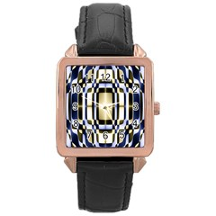 Colorful Seamless Pattern Vibrant Pattern Rose Gold Leather Watch